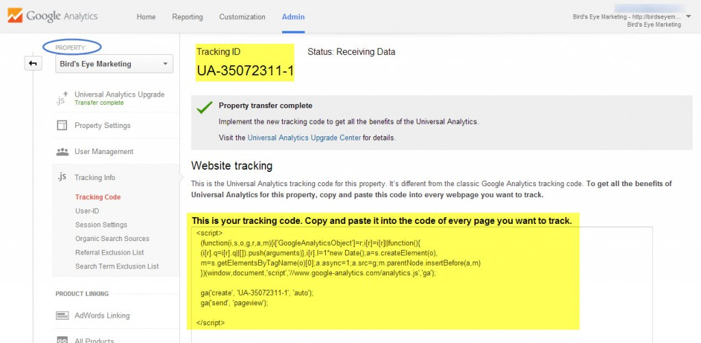 Google Universal Analytics Tracking Code.