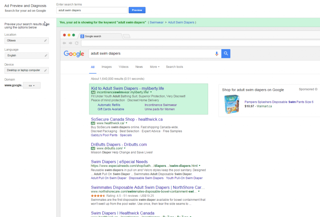 Google AdWords Ad Preview when your ad is showing on Google Search Results