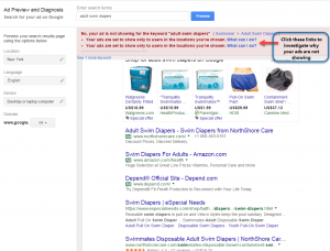 Sample screen of Google AdWords Ad Preview and Diagnosis Tool when ad is not showing in search.