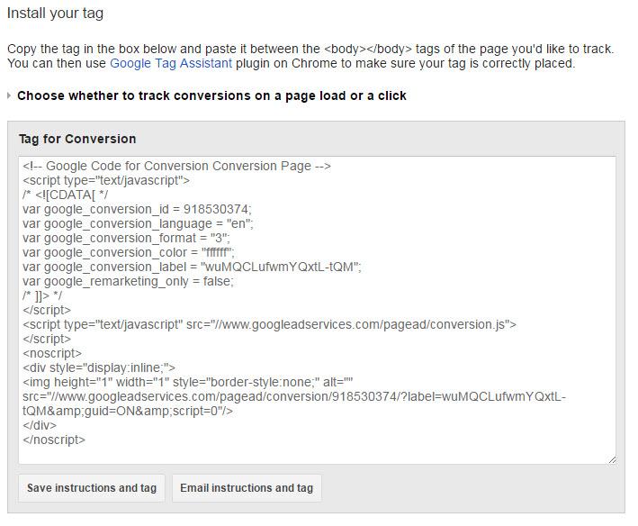 AdWords Conversion Code Sample.