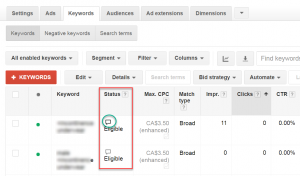 Google AdWords Keyword Status Bubble