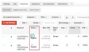 Google AdWords Keyword Status Bubble