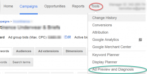 Google AdWords Tools Menu to Reach Ad Preview