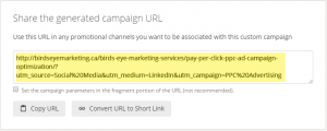Google URL Builder; Complete the form and the campaign URL is automatically generated