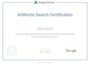 Google AdWords Certification Certificate