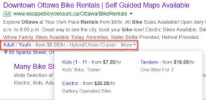 Google Ads Extension - Price dropdown