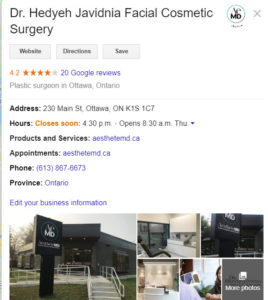 Google My Business profile listing includes pictures