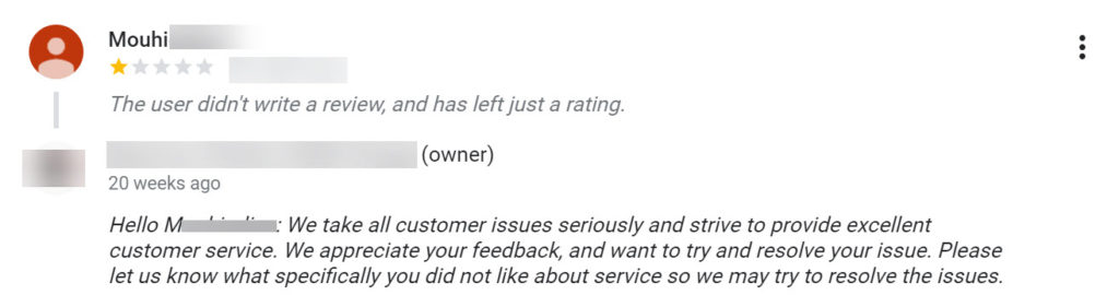 Negative review and response