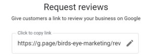Review Request link in GMB